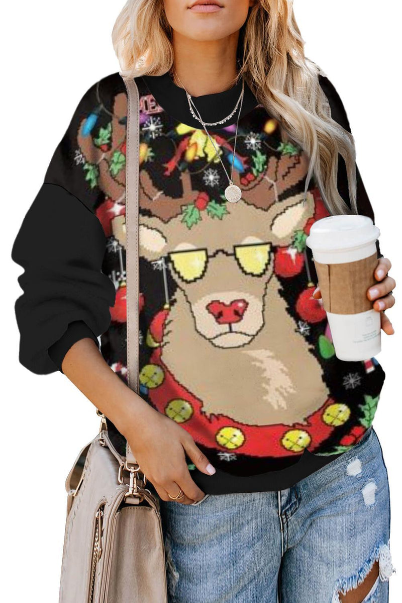KaleaBoutique Black Merry Christmas Holiday Print Sweatshirt - KaleaBoutique.com
