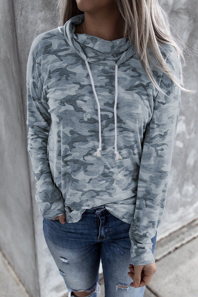 KaleaBoutique Fall Grey Blue Camo Drawstring Sweatshirt - KaleaBoutique.com