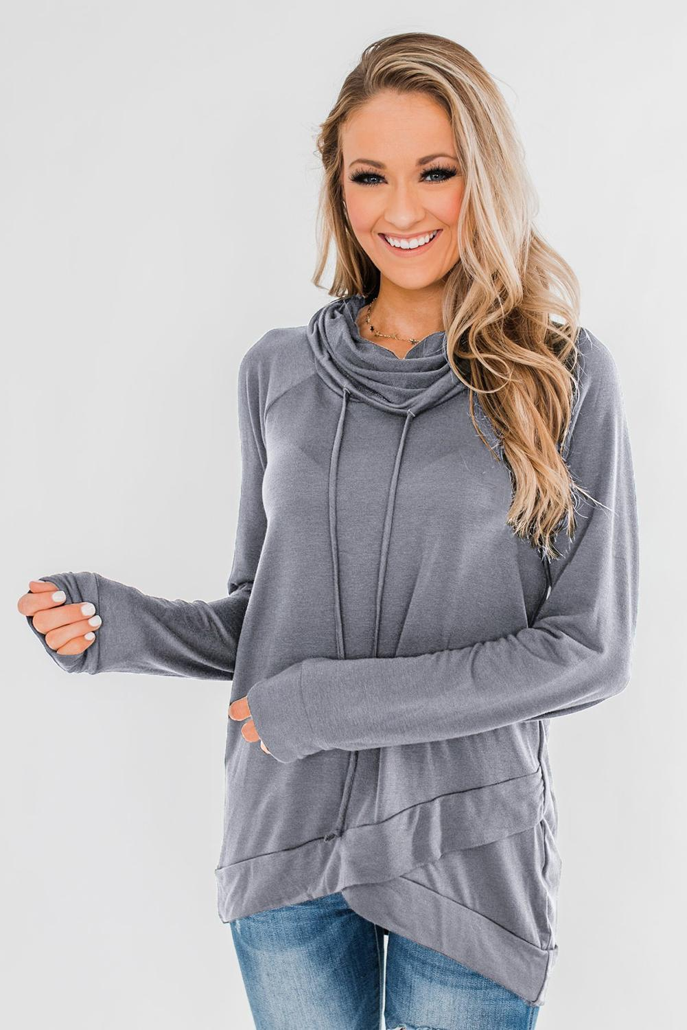 KaleaBoutique Gray Casual Cowl Neck Pullover Sweatshirt - KaleaBoutique.com