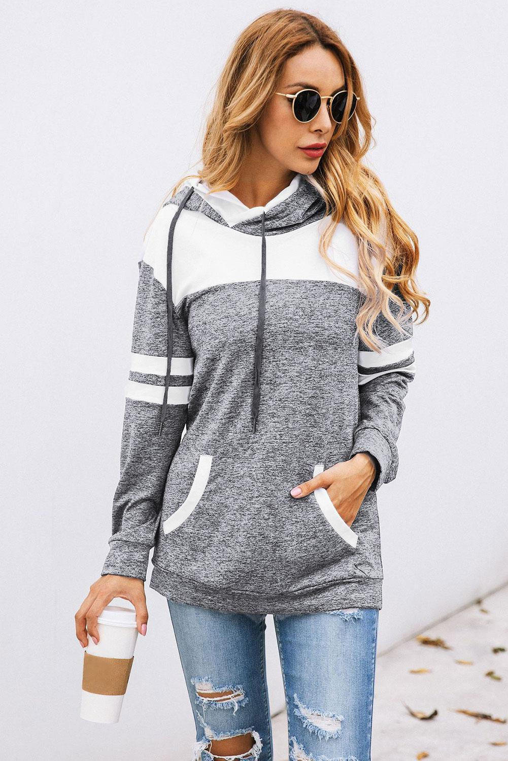 KaleaBoutique Gray Color Block Pullover Hoodie with Pocket - KaleaBoutique.com