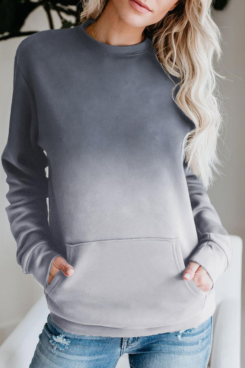 KaleaBoutique Gray Ombre Kangroo-Pocket Pullover Sweatshirt - KaleaBoutique.com