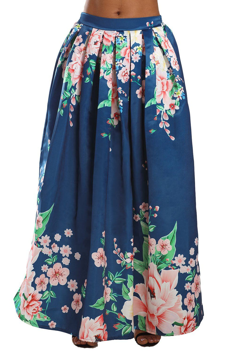 KaleaBoutique Navy Coral Floral Elegant Flared Maxi Skirt - KaleaBoutique.com
