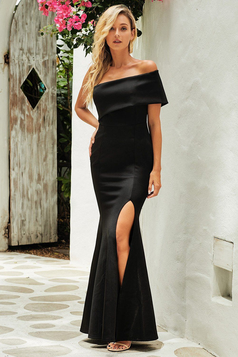 KaleaBoutique Off The Shoulder One Sleeve Slit Maxi Party Prom Dress - KaleaBoutique.com