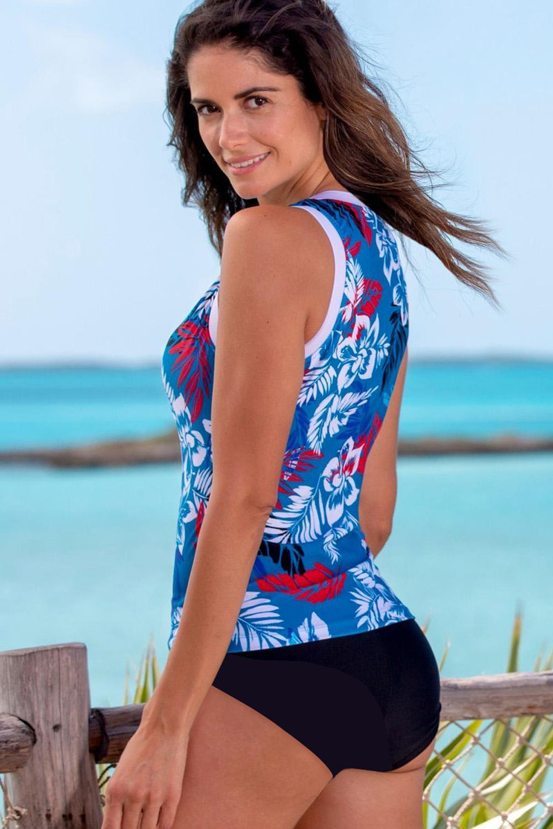 KaleaBoutique Sky Blue Ethnic Print High Neck Strappy Tankini - KaleaBoutique.com
