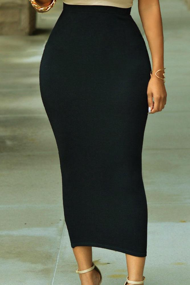 KaleaBoutique Solid Black High-Waist Bodycon Maxi Stretch Skirt - KaleaBoutique.com