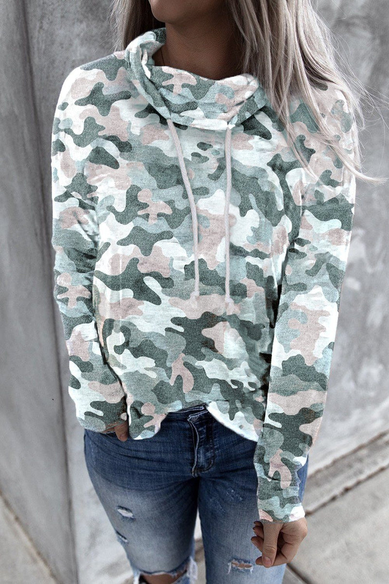 KaleaBoutique Stylish Fall Grey Green Camo Drawstring Sweatshirt - KaleaBoutique.com