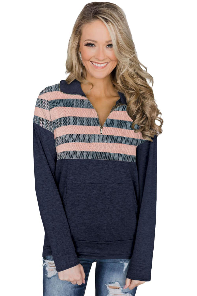 KaleaBoutique Stylish Fall Pink Kangaroo Pocket Zip Collar Sweatshirt - KaleaBoutique.com