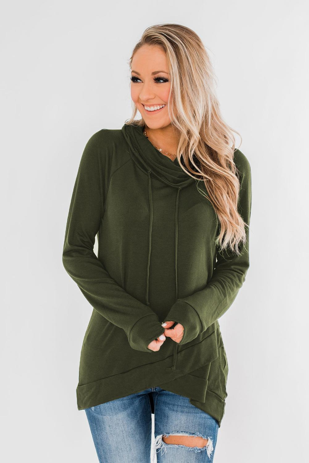 KaleaBoutique Stylish Green Casual Cowl-Neck Pullover Sweatshirt - KaleaBoutique.com