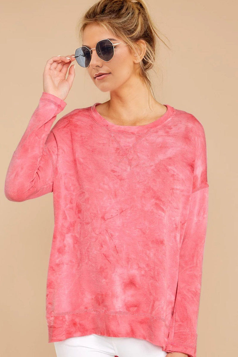 KaleaBoutique Stylish Mixed Pink Drop Shoulder High Low Hem Sweatshirt - KaleaBoutique.com
