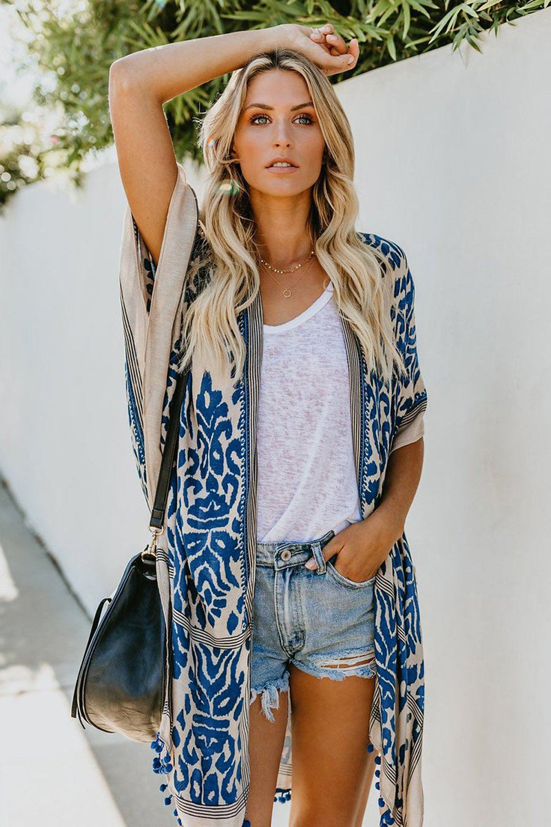 KaleaBoutique Stylish Summer Blue Prowess Pom Pom Kimono - KaleaBoutique.com