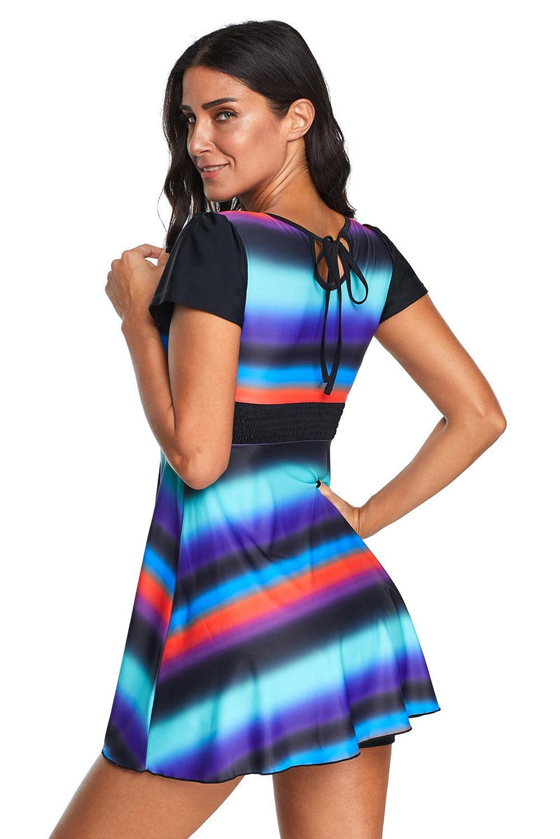 KaleaBoutique Stylish Tie Dye Ombre Striped Swimdress Tankini - KaleaBoutique.com