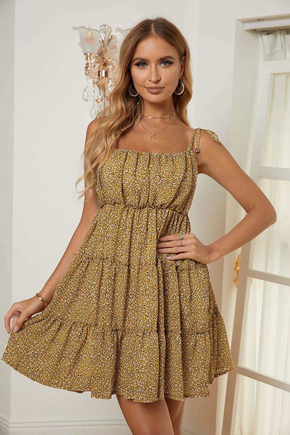 KaleaBoutique Stylish Yellow A-line Layered Ruffled Floral Dress - KaleaBoutique.com