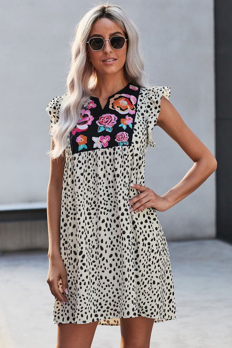 KaleaBoutique Beautiful Leopard Splicing Floral Ruffled Casual Dress - KaleaBoutique.com