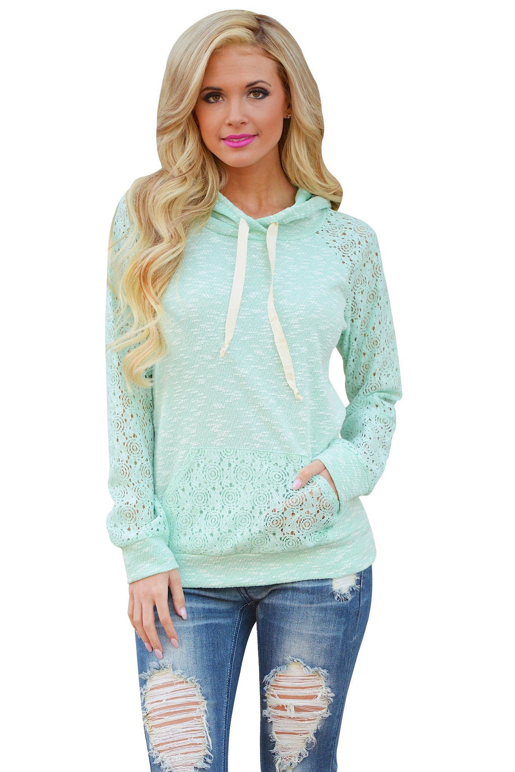 Light Green Lace Accent Kangaroo Pocket Hoodie - KaleaBoutique.com