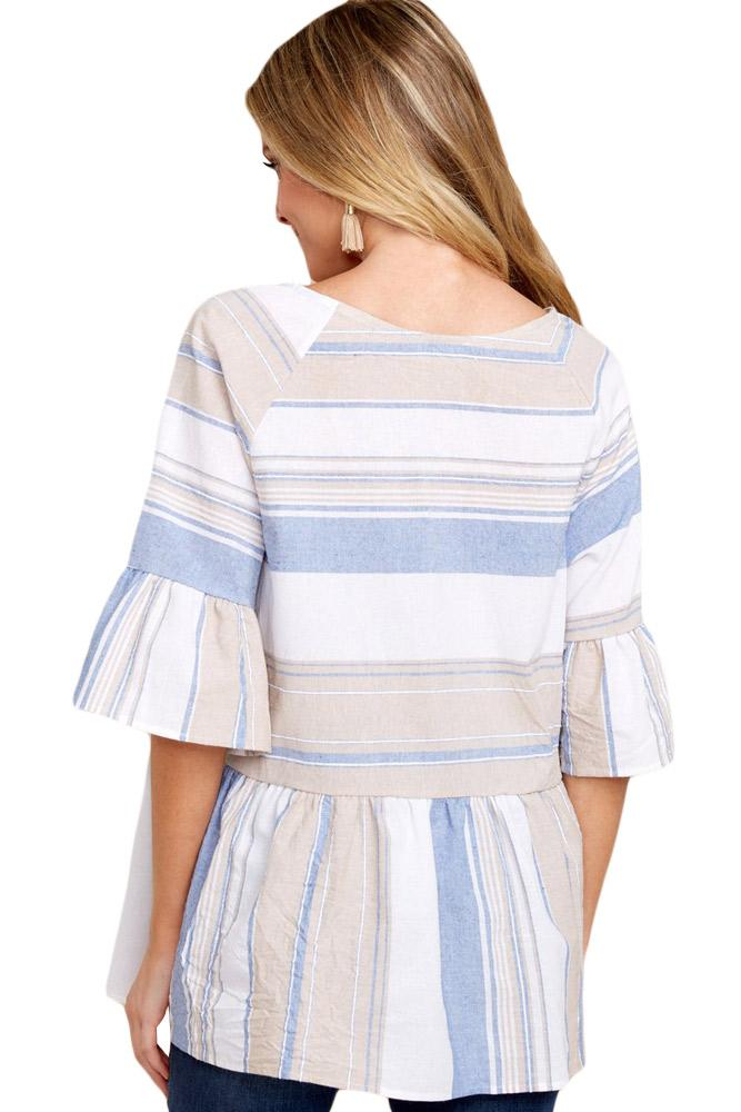 Light Multicolor Striped Flared Tunic Top - KaleaBoutique.com
