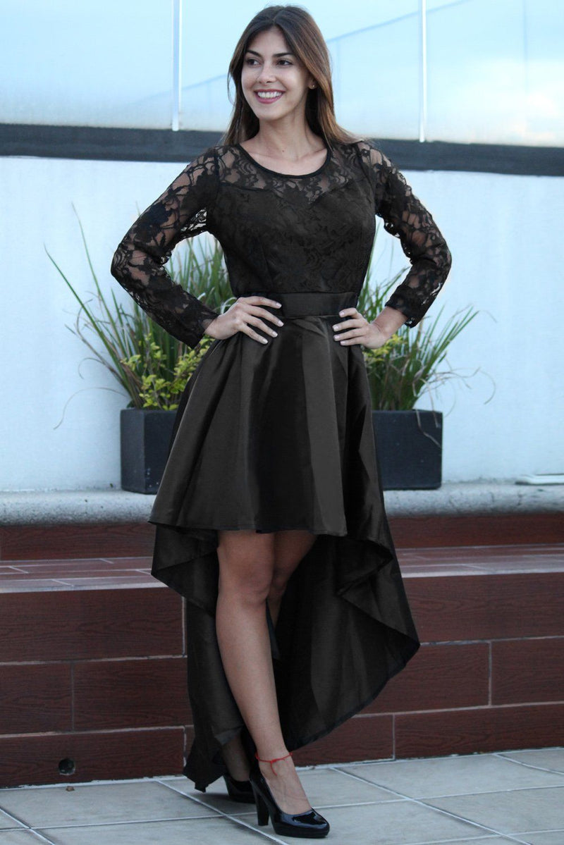 Long Sleeve Lace High Low Satin Prom Dress - KaleaBoutique.com