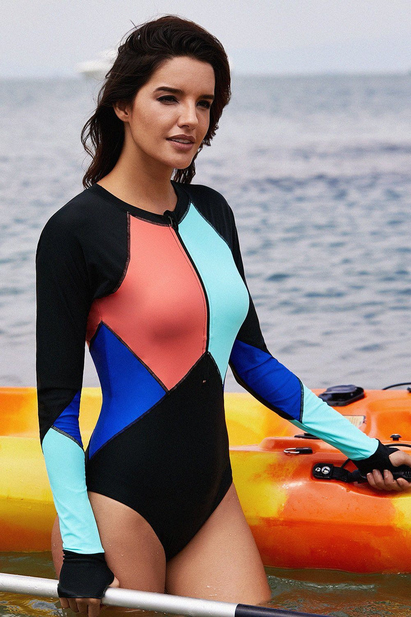 Misses Font Zipper Long Sleeve Swim Wear Rash Guard One Piece Color Block Swimsuit - KaleaBoutique.com