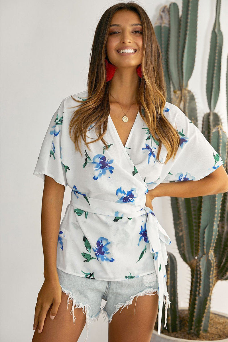 Mosaic Printed Wrap Tunic Top - KaleaBoutique.com