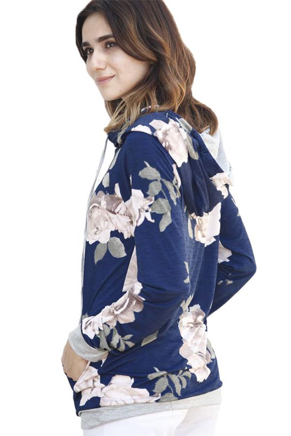 Navy Cream Floral Drawstring Hoodie - KaleaBoutique.com