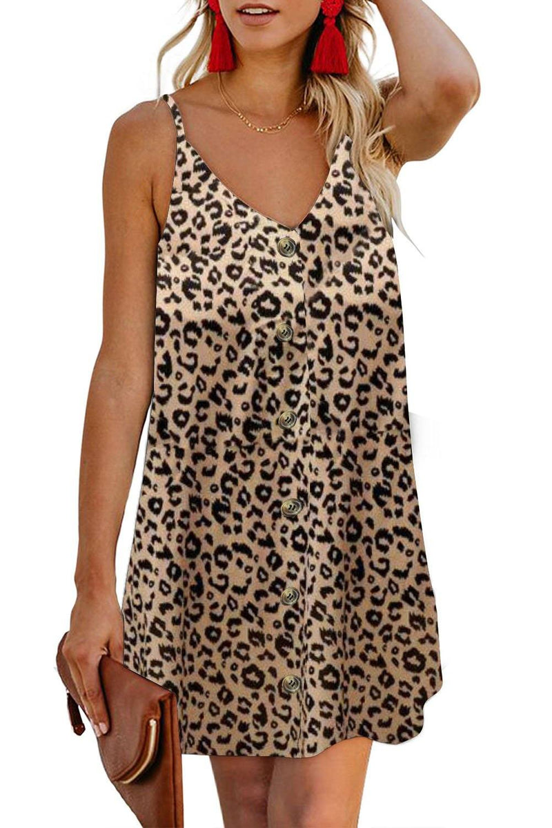 KaleaBoutique Beautiful Leopard Pattern Buttoned Slip Cami Dress - KaleaBoutique.com