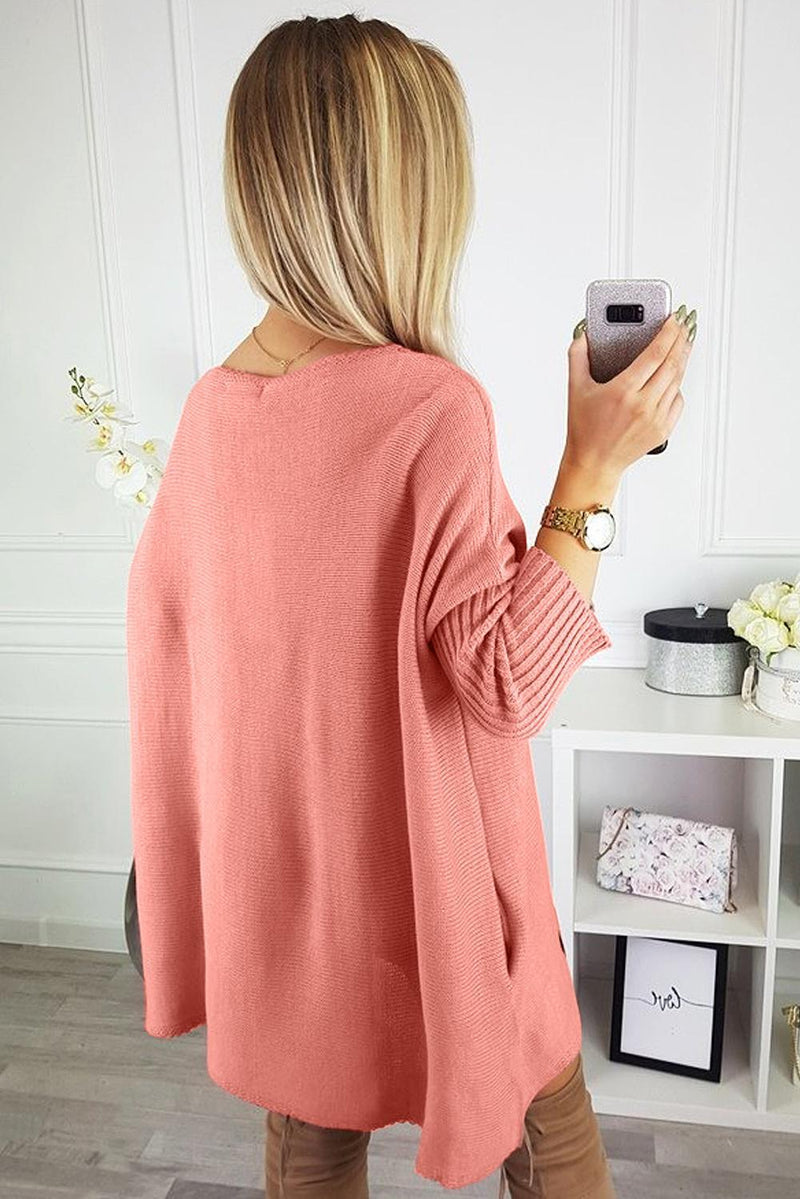 Pink Oversized Batwing Sleeve Sweater Dress - KaleaBoutique.com