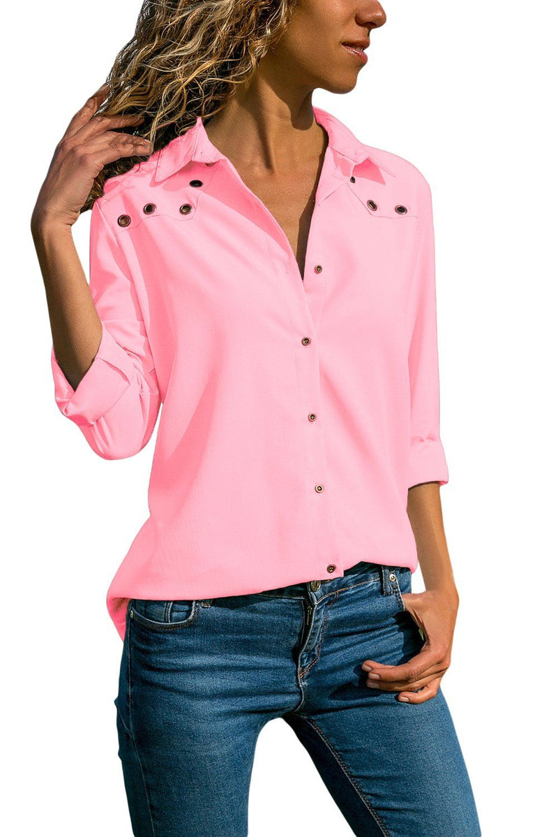 Pink Stylish Button Detail Long Sleeve Blouse - KaleaBoutique.com
