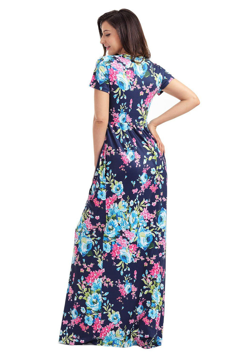 Pocket Design Short Sleeve Bright Blue Floral Maxi Dress - KaleaBoutique.com