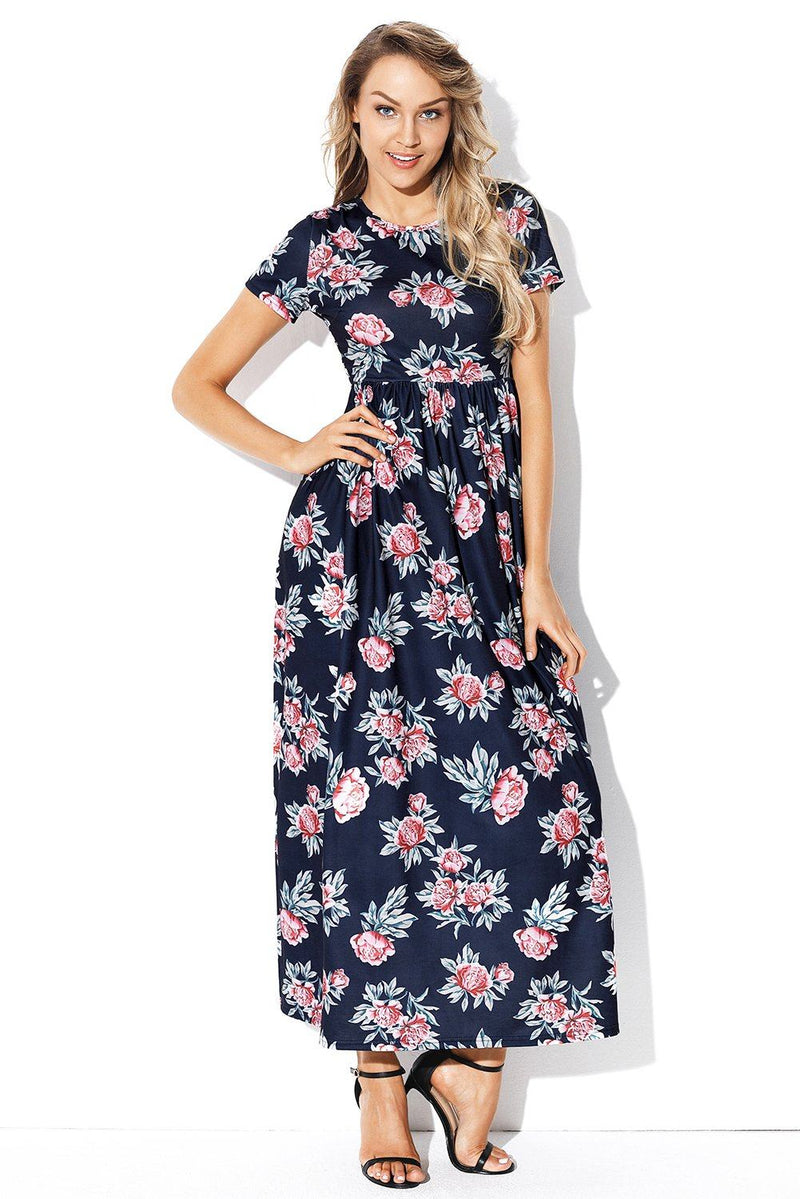 Pocket Design Short Sleeve Dark Blue Floral Maxi Dress - KaleaBoutique.com