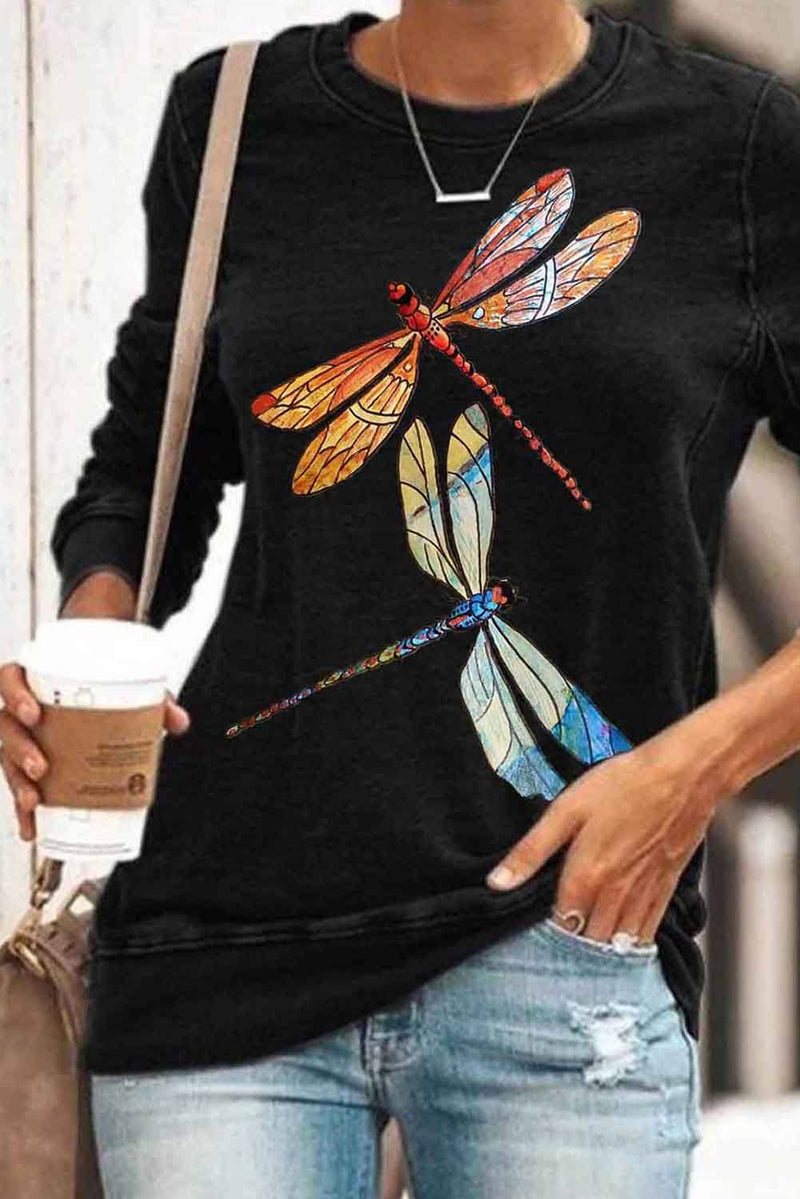 Round Neck Long Sleeve Dragonfly Print Sweatshirt - KaleaBoutique.com