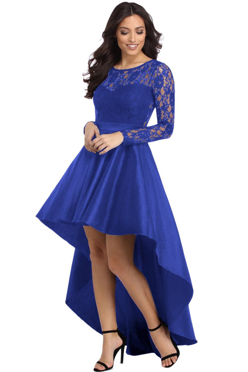 Royal Blue Long Sleeve Lace High Low Satin Prom Dress - KaleaBoutique.com