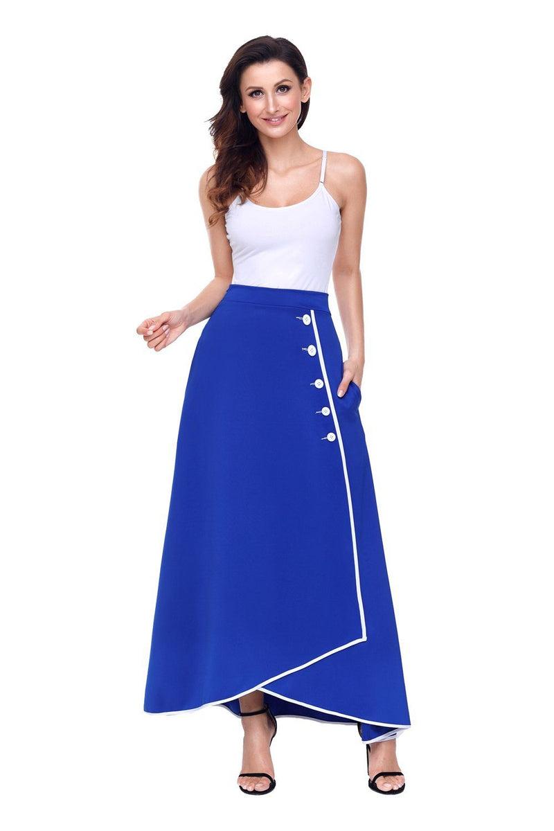 Royal Blue Piped Button Embellished High Waist Maxi Skirt - KaleaBoutique.com