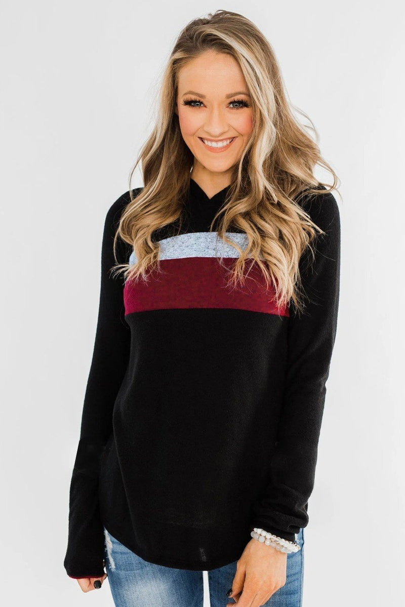 Striped Colorblock Hoodie - KaleaBoutique.com