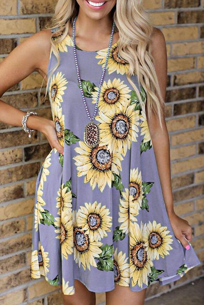 KaleaBoutique Beautiful Sunflower Print Tank Dress - KaleaBoutique.com