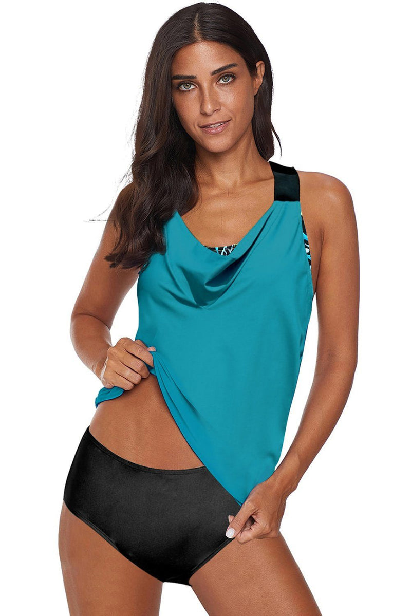 KaleaBoutique Beautiful Cowl Neck Splicing Tank and Panty Tankini Set - KaleaBoutique.com