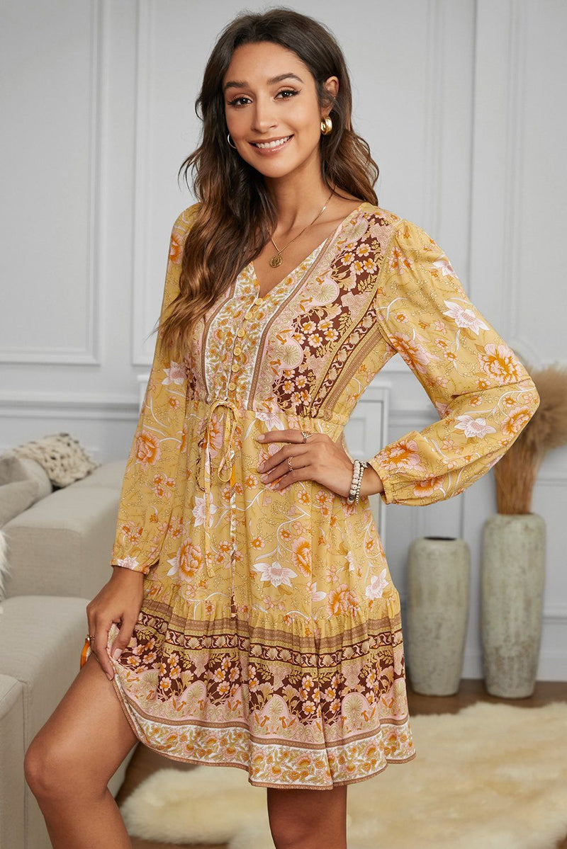 KaleaBoutique Beautiful V-neck Floral Print Long Sleeve Tunic Mini Dress - KaleaBoutique.com