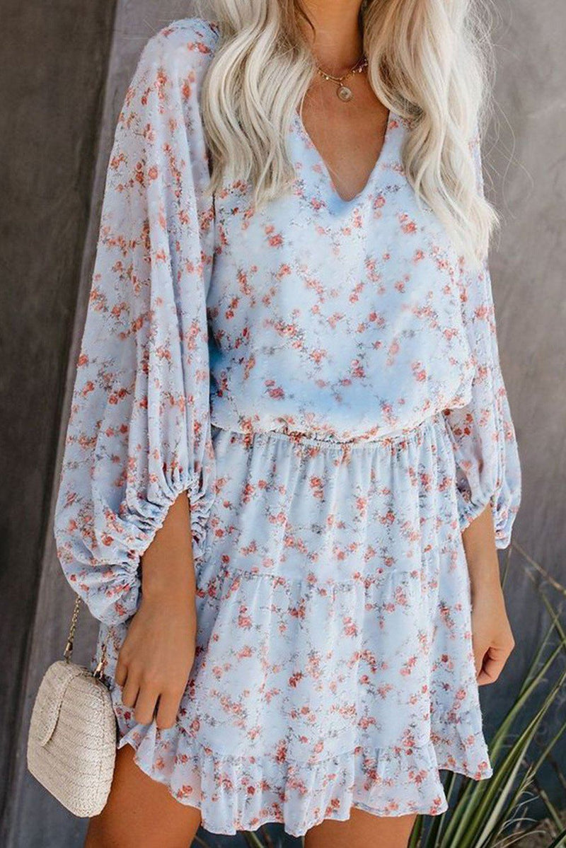 KaleaBoutique Beautiful V Neck Lantern Sleeves Floral Tunic Dress - KaleaBoutique.com