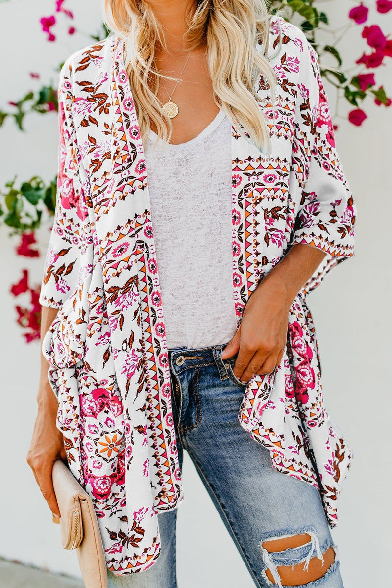 White Floral Kimono Cardigan Open Front Cover Up - KaleaBoutique.com