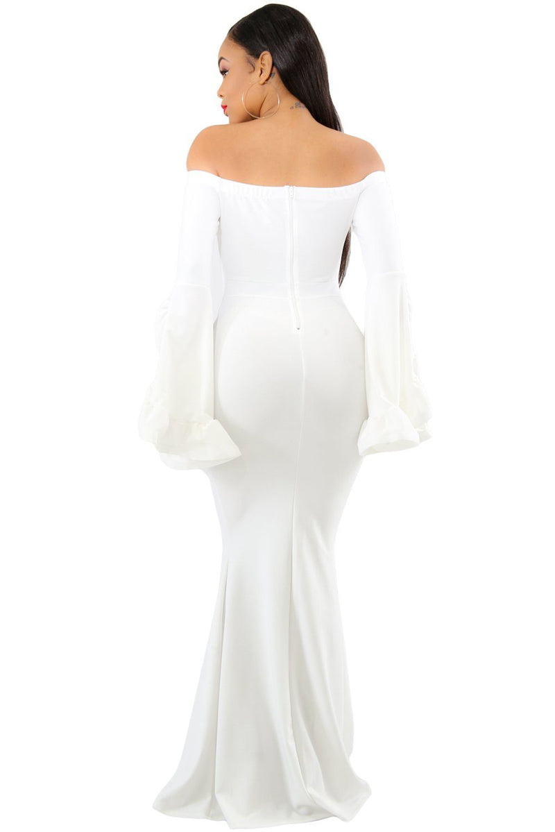 White Off Shoulder Pleated Bell Sleeves Party Evening Maxi Dress - KaleaBoutique.com