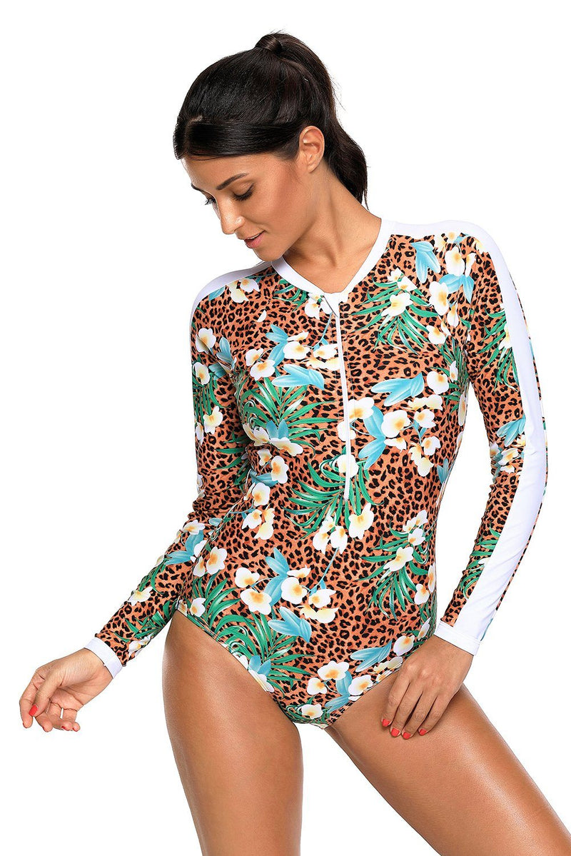Women Animal Skin Leopard Print Long Sleeve Rash Guard Front Zipper One Piece Swimsuit - KaleaBoutique.com