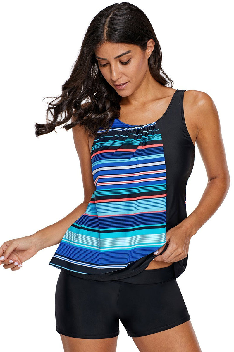 Women Asymmetric Stripe Color Block Tankini Swimsuit Beach Swim Wear Top - KaleaBoutique.com