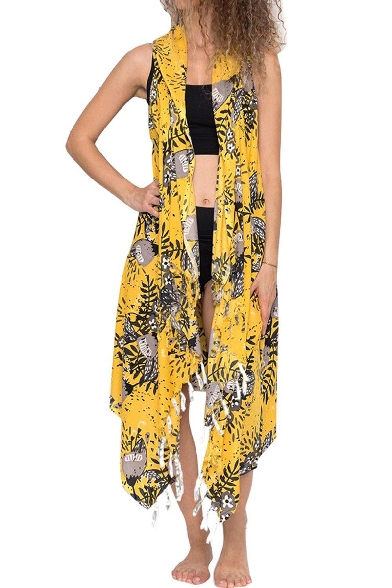 Women Beach Wear Loose Relaxed Fit Summer Blossoms Print Maxi Cardigan Cover Up Summer Dress Vest - KaleaBoutique.com