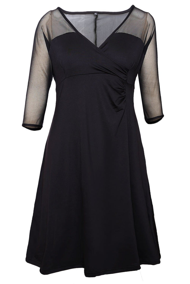 Women Black Mesh Splice 3/4 Sleeve Deep V Neck Plus Size Flare Midi Dress - KaleaBoutique.com