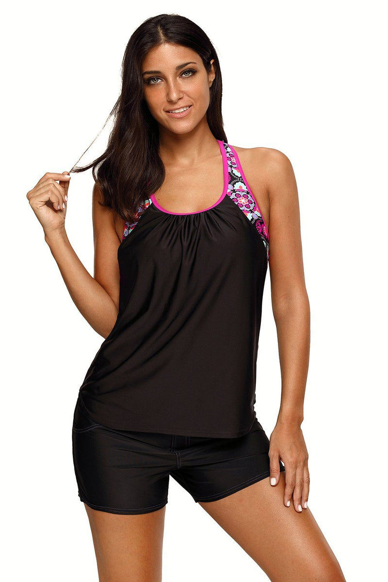 Women Black Pink Trim Relaxed Style Floral T-back Tankini Swimsuit Beach Wear Swim Top - KaleaBoutique.com