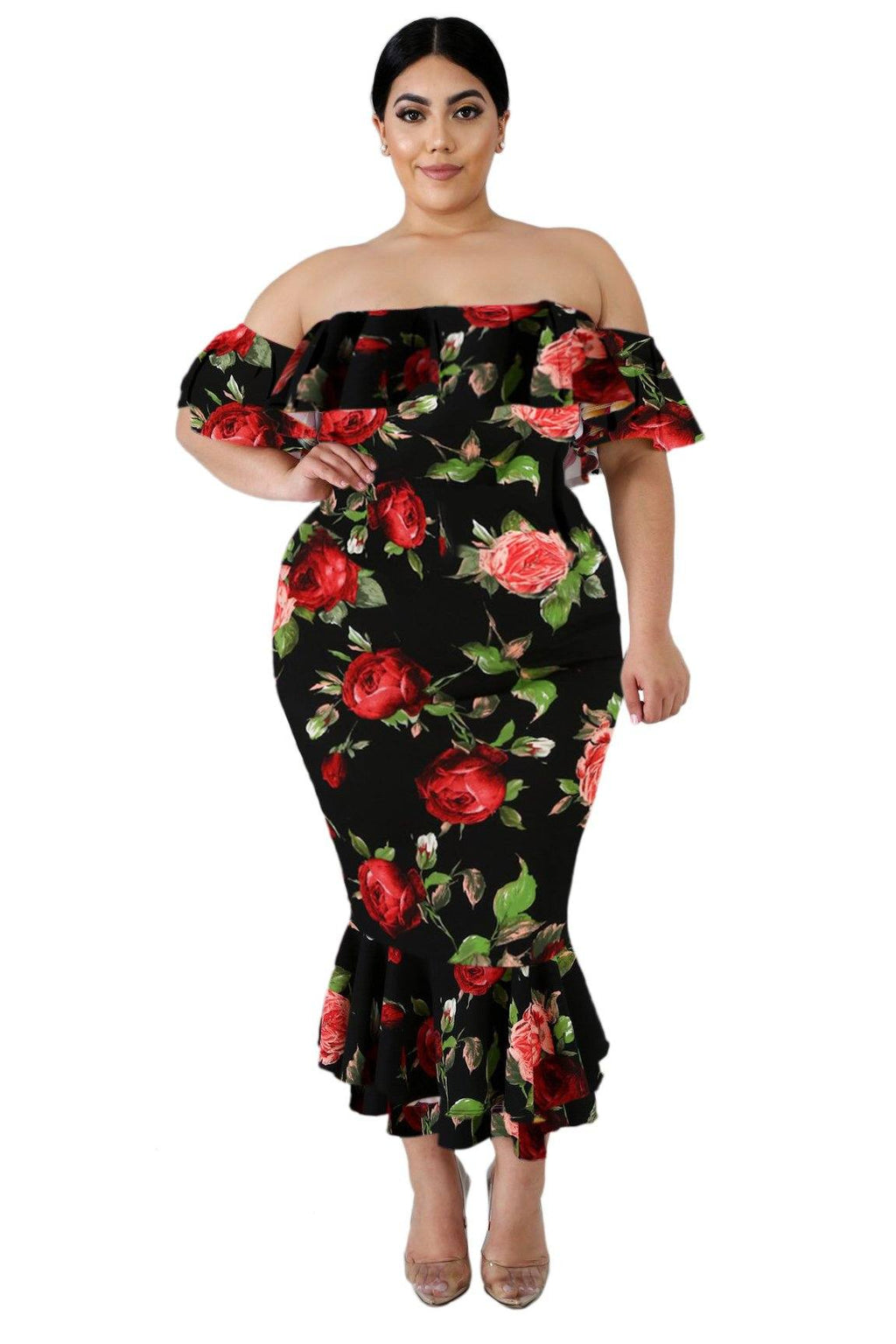 Women Black Red Flower Print Off Shoulder Ruffled Mermaid Plus Size Midi Dress - KaleaBoutique.com