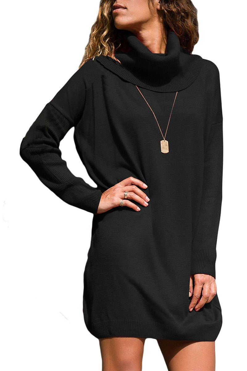 Women Black Ribbed Cowl Neck Lightweight Long Sleeve Mini Sweater Dress - KaleaBoutique.com