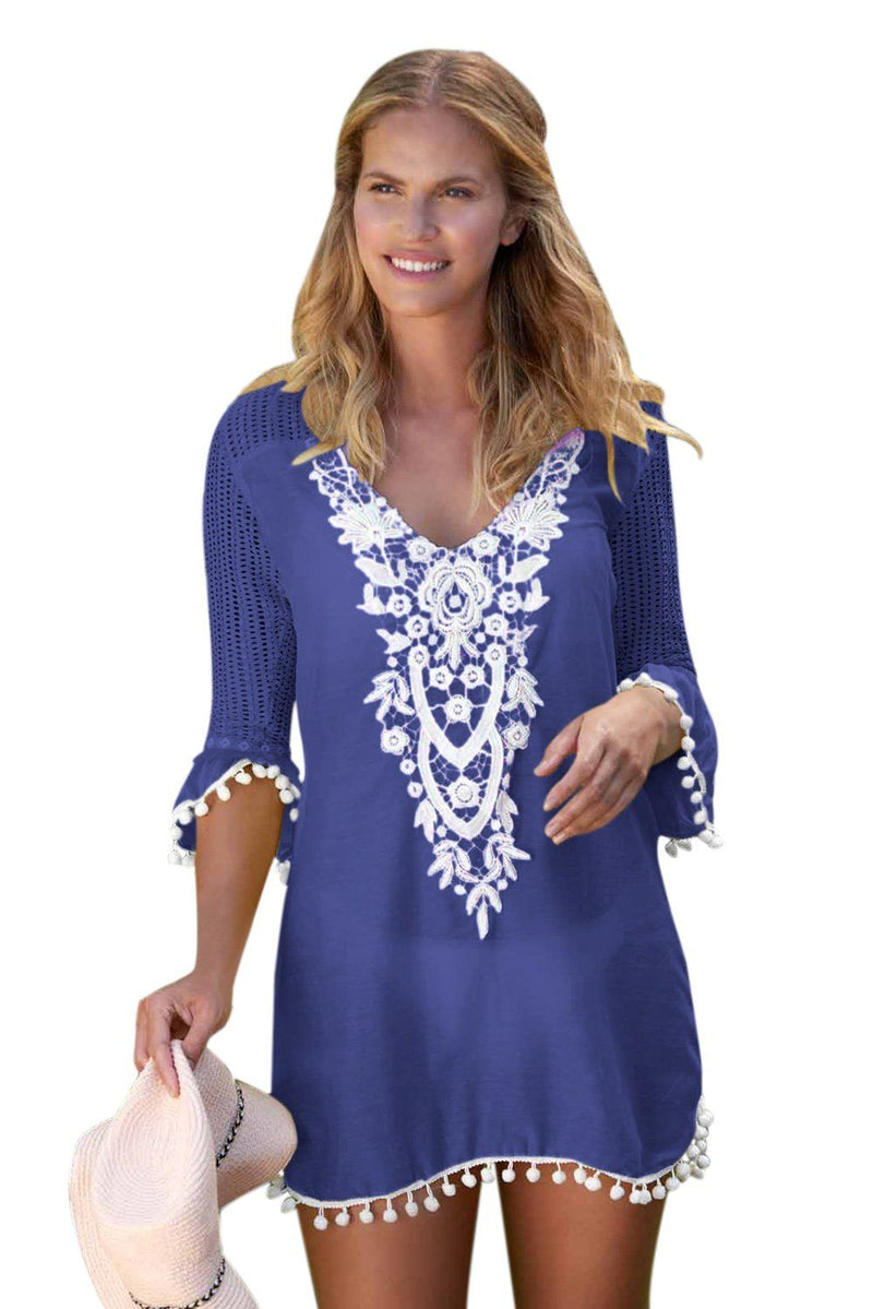 Women Blue Embroidered Crochet Applique Neck Pompom Trim Beach Wear Cover Up Dress - KaleaBoutique.com
