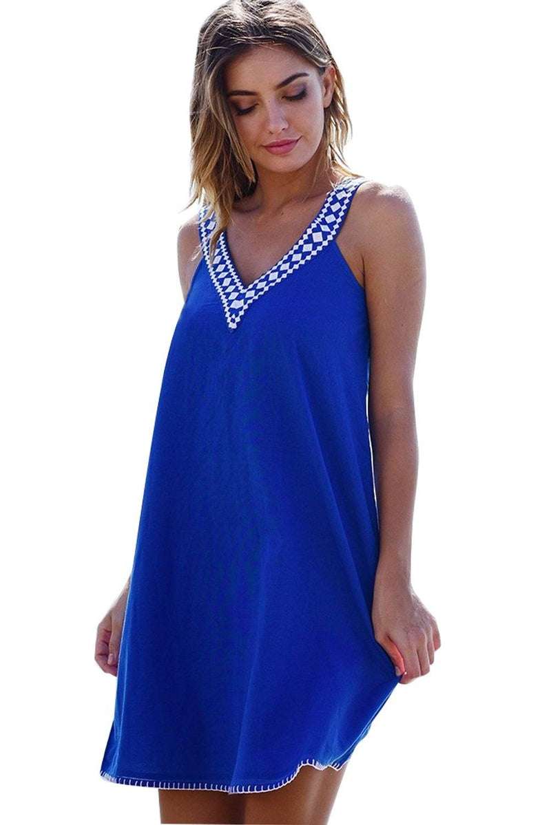 Women Blue Sleeveless Jersey Embroidered V Neck and Back Mini Dress Summer Beach Cover Up - KaleaBoutique.com