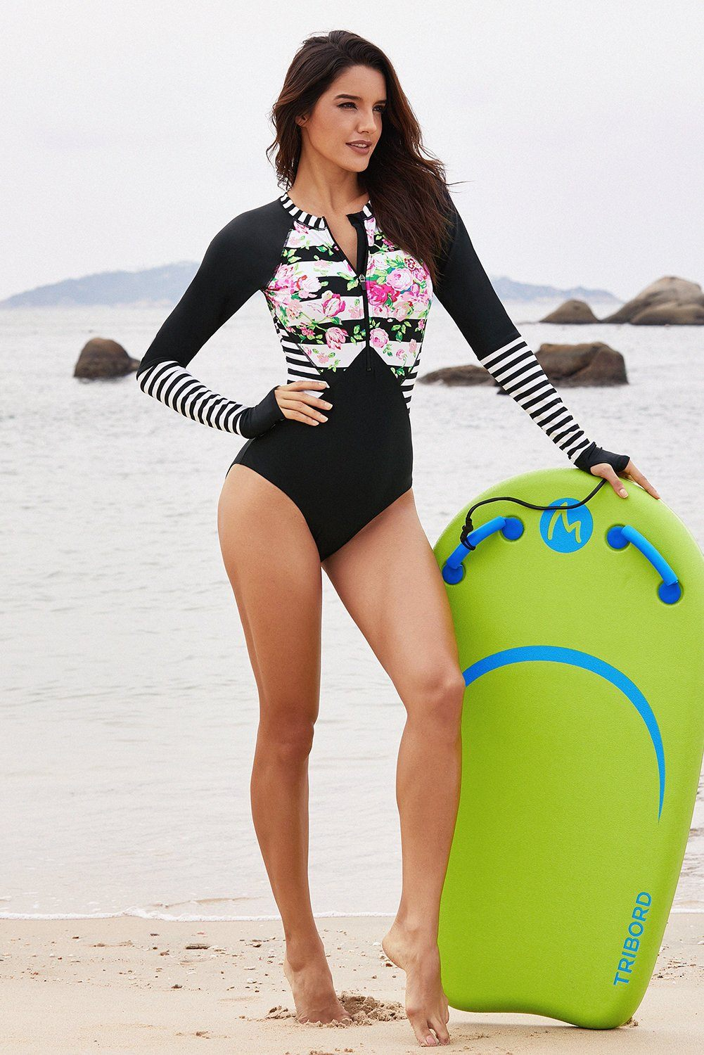 Women Font Zipper Stripes Roses Long Sleeve Rash Guard One Piece Scuba Swimsuit - KaleaBoutique.com