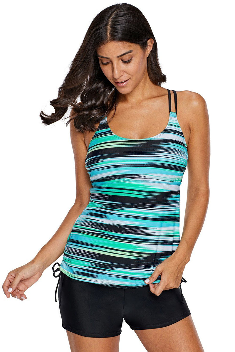 Women Green Abstract Stripe Print Multi Strap Racer Back Tankini Swimsuit Swim Top - KaleaBoutique.com