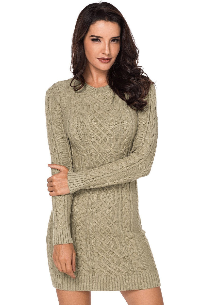 Women Khaki Slouchy Ribbed Cable Bodycon Sweater Mini Dress - KaleaBoutique.com